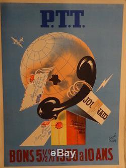 Affiche Ancienne Ptt Globe Telephone Humour Rene Ravo