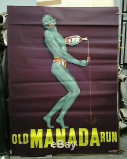 Affiche Ancienne Rhum Old Manada Rum Marseille La Lithotyp Roquevaire