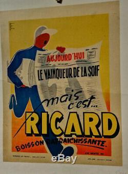 Affiche Ancienne Ricard Vainqueur De La Soif Marchand De Journaux Bataille