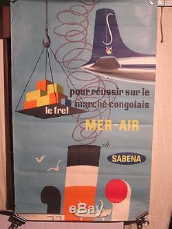 Affiche Ancienne Sabena Fret Congo