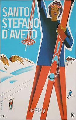 Affiche Ancienne Santo Stefano D'aveto Ski Montagne Par Puppo 1950