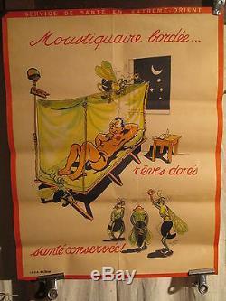 Affiche Ancienne Service Sante Indochine Moustiques