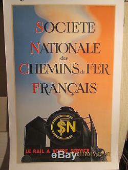 Affiche Ancienne Sncf Locomotive 1938 Premiere Sortie Rare