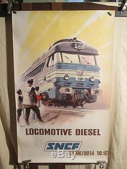 Affiche Ancienne Sncf Locomotive Brenet