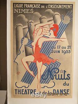Affiche Ancienne Theatre Musique Danse Nimes Deco