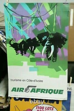 Affiche Ancienne Tourisme En Cote D'ivoire Elephants Afrique Dessirier