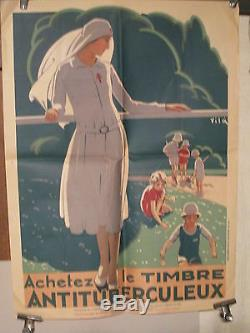 Affiche Ancienne Tuberculose Infirmiere Vila