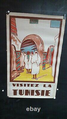 Affiche Ancienne Tunisie Scene Personnages Yahia 100x62cm