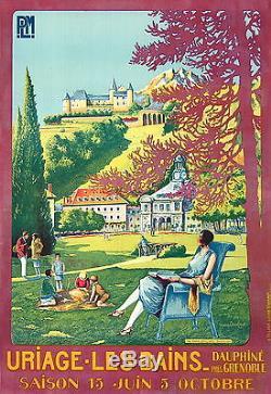 Affiche Ancienne Uriage Les Bains Dauphiné Grenoble Par Baubaut 1926