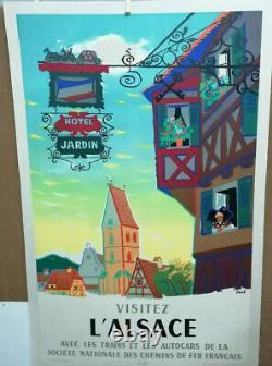 Affiche Ancienne Visitez L'alsace Sncf 1958 Abel