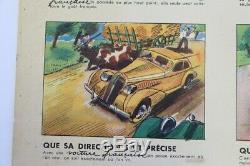 Affiche Ancienne Voiture Francaise Citroen Delage Peugeot Panhard Hotckiss Antar