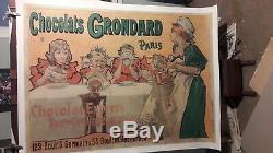 Affiche Anciennne Chocolat Grondard Scene Enfants