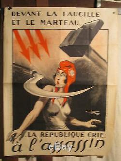 Affiche Annees 1930 Anticommuniste Marianne Faucille Marteau