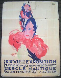Affiche Art Deco Beaux Arts Cannes Cercle Nautique Jean Gabriel Domergue 1934