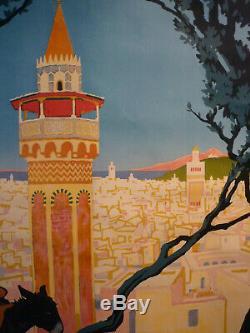 Affiche Broders Roger PLM Tunis 1920 entoilée