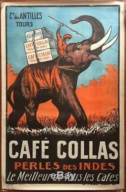 Affiche CAFE COLLAS Perles des Indes Elephant Cuisine 75x114cm 1927