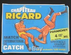 Affiche Chapiteau RICARD anisette CATCH 4 août 1969 Pornichet pastis anis