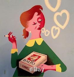 Affiche Cigarettes BALTO Gouache originale 1953 Gouju & Amalric (peinture)