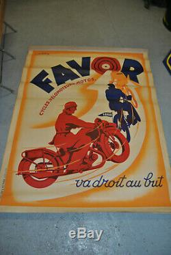 Affiche Cycles Favor cycles, vélomoteurs, moto signée Matthey 120cm x 60cm