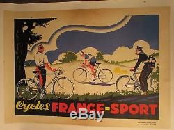 Affiche Cycles France Sport Deco Annees 1925