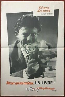 Affiche DEVOREZ LES LIVRES GERARD PHILIPE Librairie, Lecture 40x60cm 50's