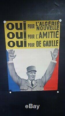 Affiche De Gaulle Algerie Independante Rare