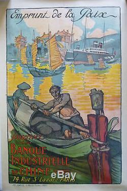 Affiche Emprunt de la Paix 1920 Banque industrielle de CHINE CHINA Far East Loan
