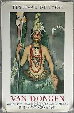 Affiche Expo VAN DONGEN Musée des Beaux-Arts FESTIVAL DE LYON Litho Mourlot 1964