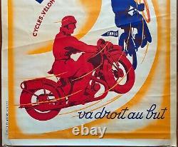 Affiche FAVOR VA DROIT AU BUT Cycle Vélomoteurs Motos MATTHEY 120x160cm 20's