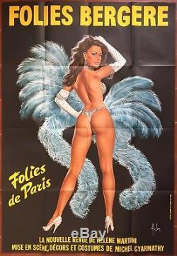 Affiche FOLIES BERGERE FOLIES DE PARIS Cabaret Pin-Up ASLAN