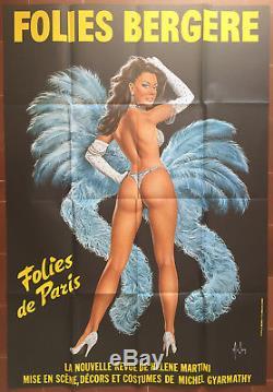 Affiche FOLIES BERGERE Modèle Bleu Cabaret Pin-Up ASLAN