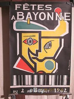 Affiche Fetes Bayonne 62 Cubiste Deco