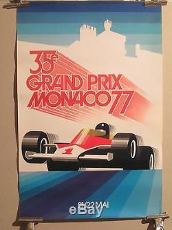 Affiche Gp Monaco 1977 Deco Graphique