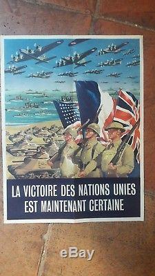 Affiche Guerre 1944 Debarquement Nations Unies