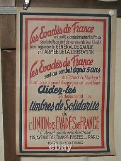 Affiche Guerre 39/45 Evades De France