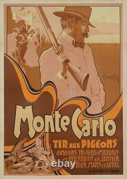 Affiche Hohenstein Tir aux Pigeons Monte-Carlo Monaco Chasse Fusil 1900