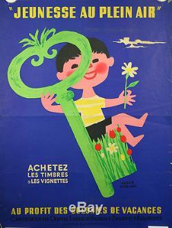 Affiche, Jeunesse au plein air, colonnies vacances, par Hervé Morvan, 1951. Clée