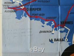 Affiche LA ROUTE DE BRETAGNE Chemins de Fer de l'Etat COMMARMOND 60 x 100 cm
