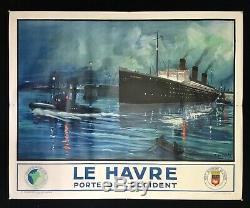 Affiche Le Havre Porte de lOccident / Paquebot Île de France /André Galland