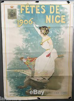 Affiche Litho originale Fêtes de NICE 1906 par Edouard Manta