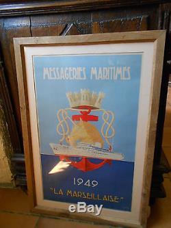 Affiche MESSAGERIES MARITIMES LA MARSEILLAISE 1949 g. Souly