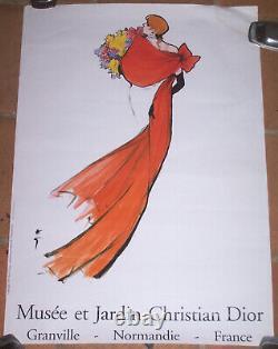 Affiche Musée Jardin Christian Dior Granville Femme Robe Rouge René Gruau 1997