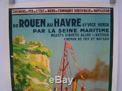 Affiche Normandie / Compagnie Navigation Felix Faure / Rouen Le Havre
