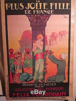 Affiche Operette Femme Scene Orientaliste Superbe