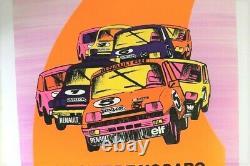 Affiche Orig. Coupe Nationale Renault 5 Alpine Elf Gordini Nogaro 1980 Orange