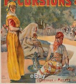Affiche Originale Alexandre Lunois Excursions au Maroc-Oudjda Fantasia 1895