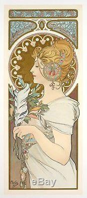 Affiche Originale Alphonse Mucha La Plume Art Nouveau Lalique 1899