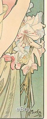 Affiche Originale Alphonse Mucha La Primevère Art Nouveau Lalique 1899