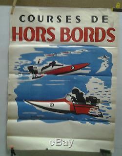 Affiche Originale Ancienne Courses De Hors Bords D Villard