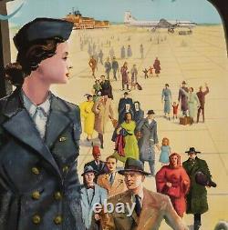 Affiche Originale Aviation Tout le monde voyage par Sabena Belgique 1950